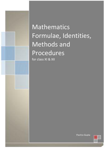 Mathematics Formulae, Identities, Methods and Procedures