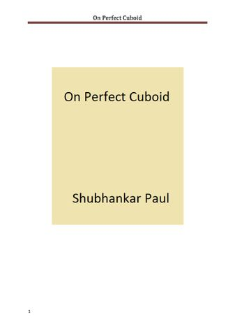 On Perfect Cuboid
