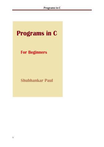Programs in C
