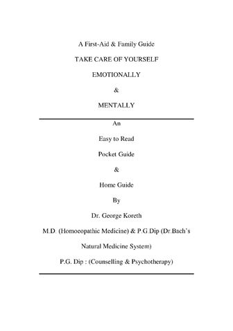 """A First-Aid & Family Guide : TAKE CARE OF YOURSELF """"EMOTIONALLY"""" & """"MENTALLY"""""""