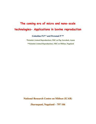 The coming era of micro and nano-scale technologies- Applications in bovine reproduction
