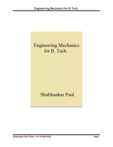 Engineering Mechanics for B. Tech.