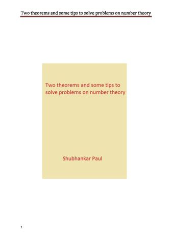 Two theorems and some tips to solve problems on number theory