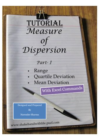 Range, Qaurtile deviation and Mean Deviation