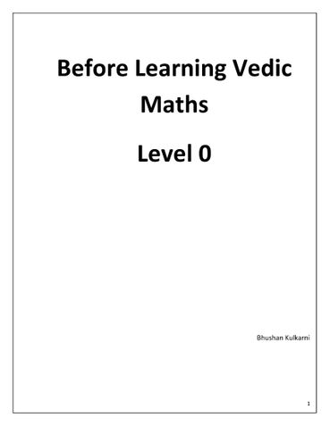 Vedic Maths Level 0