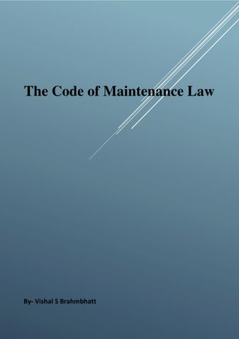 The Code of Maintenance Law