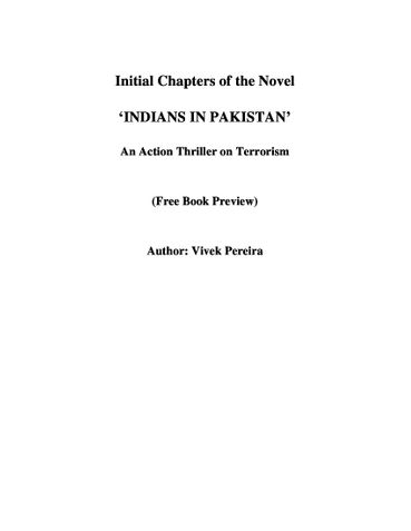 Initial Chapters of IIP, An Action Thriller on Terrorism