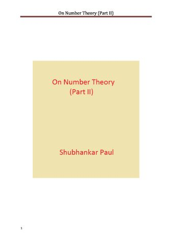 On Number Theory (Part II)