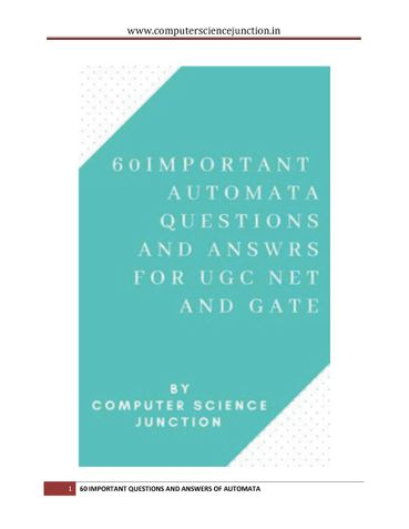60 Important Solved Questions for GATE(CS) and UGC NET