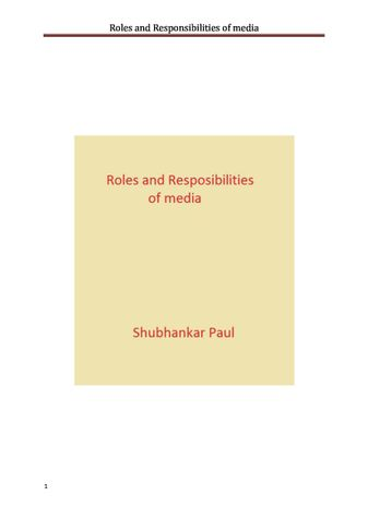 Roles and Responsibilities of media