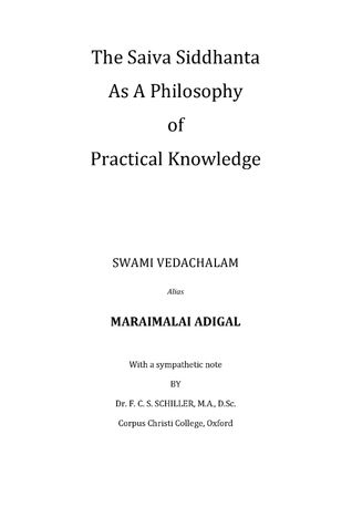 Saiva Siddhanta as a Philosophy of Practical Knowledge