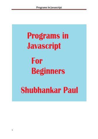 Programs in Javascript