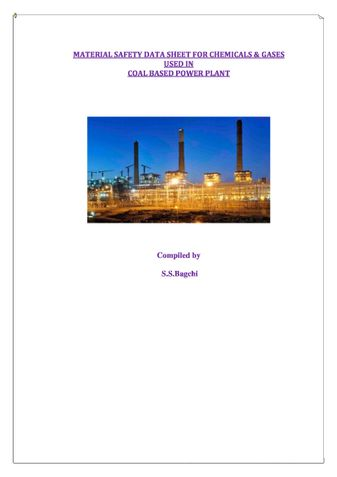 MATERIAL SAFETY DATA SHEET FOR CHEMICALS & GASES USED IN  COAL BASED POWER PLANT