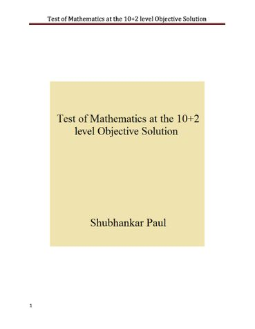 Test of Mathematics at 10+2 level Objective Solution