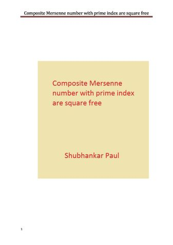 Composite Mersenne number with prime index are square free