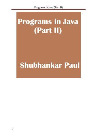 Programs in Java (Part II)