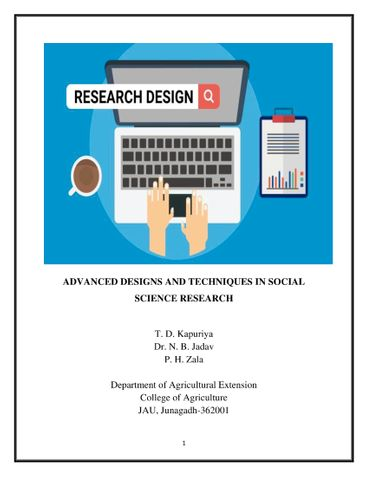 ADVANCED DESIGNS AND TECHNIQUES IN SOCIAL SCIENCE RESEARCH