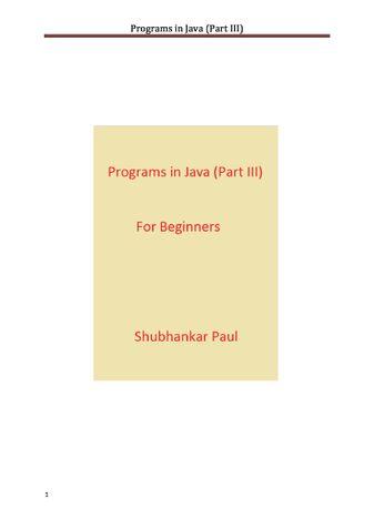 Programs in Java (Part III)