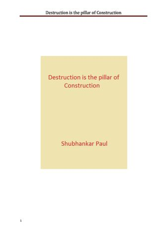 Destruction is the pillar of Construction