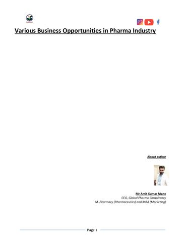 various business opportunities in Pharmaceutical industry