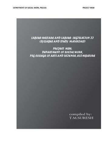 Labour welfare and labour legislation II