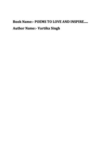 Poems To Love and Inspire!