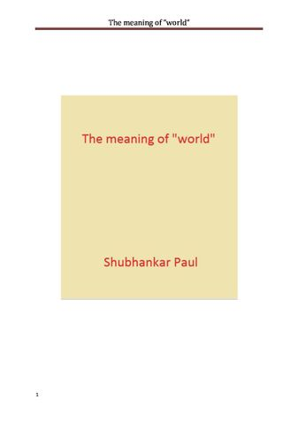 """The meaning of """"world"""""""