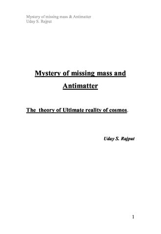 Mystery of missing mass and Antimatter