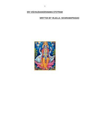 SRI VISHNU SAHASRANAMASTOTRAM IN TELUGU