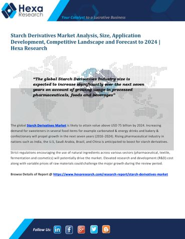 Starch Derivatives Market Size, Industry Outlook and Forecast, 2016 to 2024