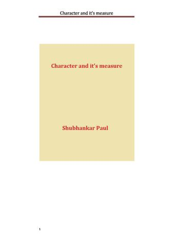 Character and it's measure