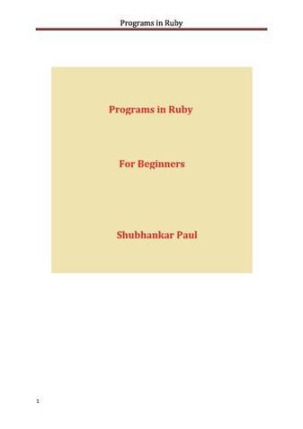 Programs in Ruby