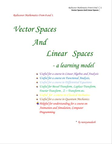 Vector Spaces and Linear Spaces