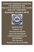 CONDENSE COURSE FOR PRINCIPLES AND PRACTICE OF INSURANCE AND SURVEY AND LOSS ASSESMENT