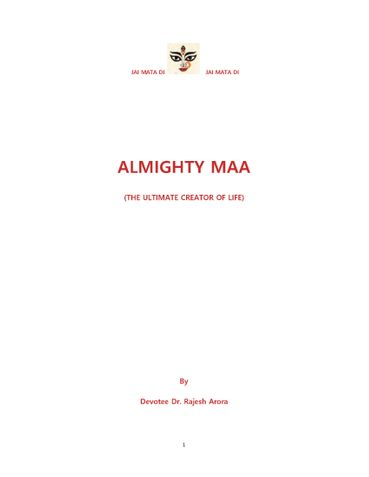 ALMIGHTY MAA (THE ULTIMATE CREATOR OF LIFE)