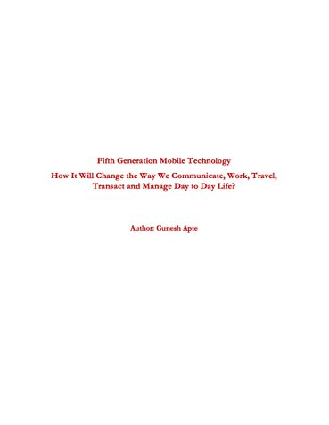 Fifth Generation Mobile Technology
