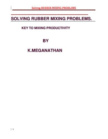 Solving Rubber Mixing Problems