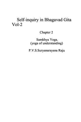 Self-inquiry in Bhagawad Gita Vol 2.