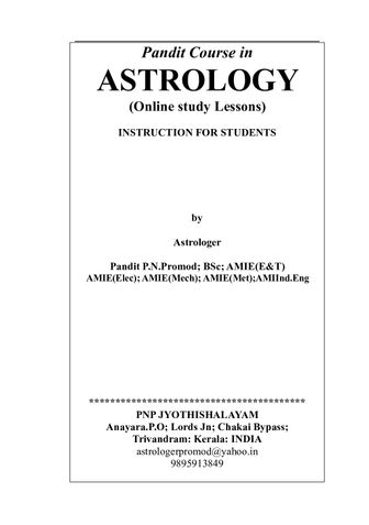 ON LINE PANDIT COURSE IN ASTROLOGY LESSONS