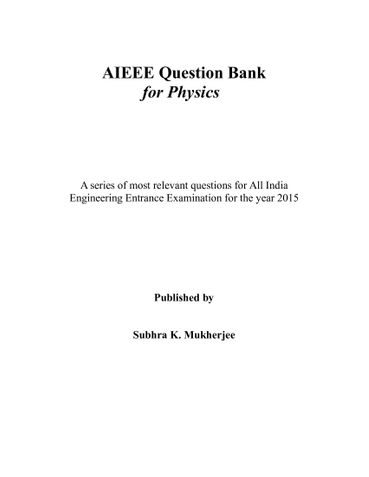 AIEEE Question Bank