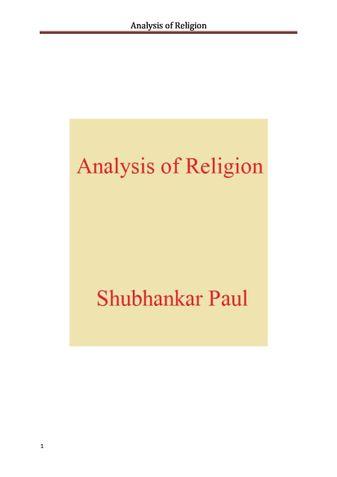 Analysis of Religion