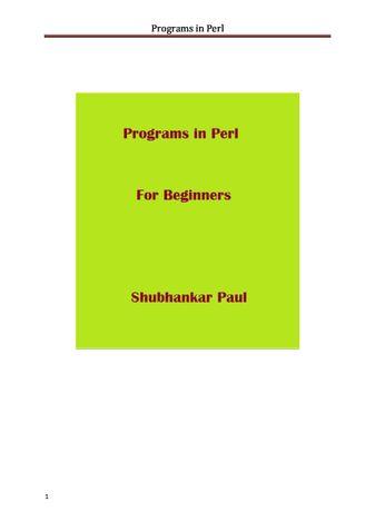 Programs in Perl