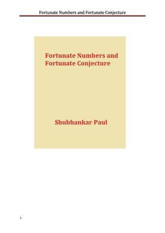 Fortunate Numbers and Fortunate Conjecture