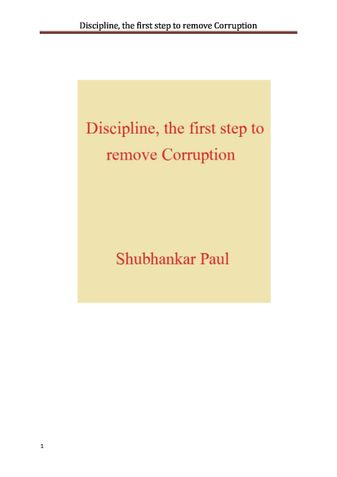 Discipline, the first step to remove Corruption