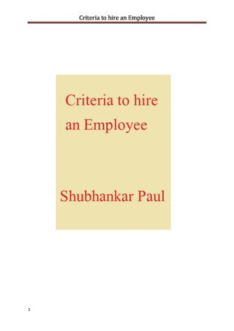 Criteria to hire an Employee