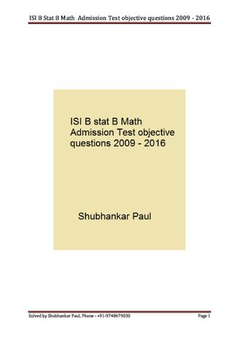 ISI B Stat B Math  Admission Test objective questions 2009 - 2016 Solution