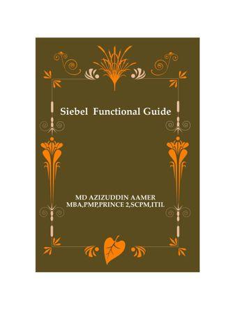 Siebel Functional Guide