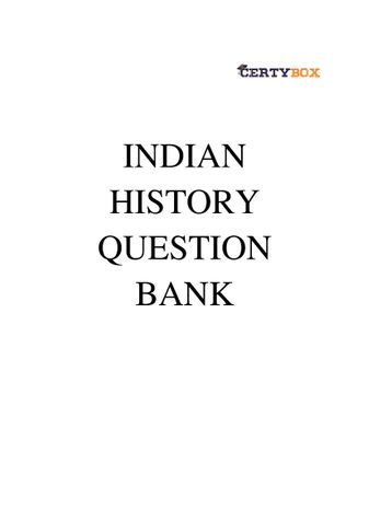 Indian History Question Bank for competitive exams(SSC/UPSC/State PSC/NDA/CDS/Railways/AFCAT)