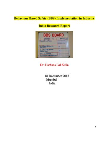 Behaviour Based Safety (BBS) Implementation in Industry