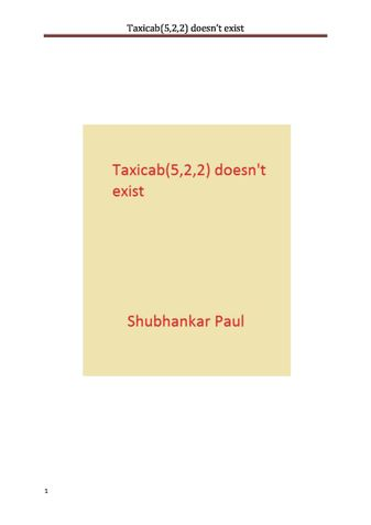 Taxicab(5,2,2) doesn't exist